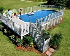 Inspired to Have a Above-Ground Swimming Pool With These Designs - above ground pool landscaping ideas Above Ground Pool Landscaping, Above Ground Pool Decks, Backyard Pool Landscaping, Above Ground Swimming Pools, In Ground Pools, Landscaping Ideas, Backyard Gazebo, Backyard For Kids, Patio