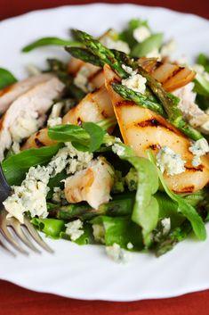 Roasted Asparagus Pear and Walnut Salad