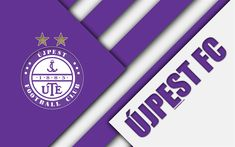 Download wallpapers Ujpest FC, logo, material design, 4k, purple white abstraction, Hungarian football club, emblem, Budapest, Hungary, OTP Bank Liga, football, Nemzeti Bajnoksag