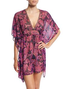 Jacobean Floral Tunic Coverup