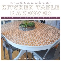 A Stenciled Kitchen Table Makeover