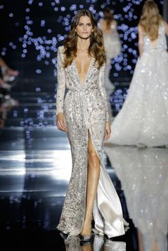 Zuhair Murad Haute Couture FW 2016 - Silver sequin embroidered coat-dress