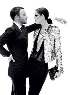 Tom Ford and Stella Tennant photographed by Steven Meisel for Vogue ('Mr. Ford Returns'). December 2010.