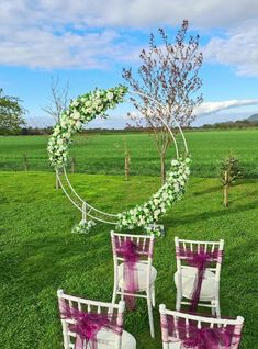Large metal filigree Wedding Moon Archway to hire from www.limelightweddings.co.uk in Scotland. Double circle with gorgeous floral arrangements around the edges, of roses, ivy, lavender, eucalyptus and fig branches all create a perfect backdrop for your wedding ceremony. Wedding Place Settings, Wedding Calligraphy, Fig, Branches, Perfect Wedding, Filigree, Floral Arrangements, Wedding Ceremony, Wedding Stuff