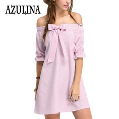 f14beb2a784e Find More Dresses Information about AZULINA Sexy Striped Bow Off The  Shoulder Mini Dress Women 2016