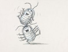 Tuck and Roll Pencil Sketch - A Bug's Life (1998) // Bud Luckey