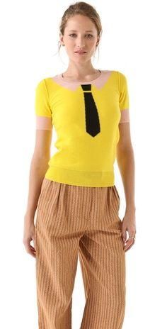 How adorable ...  Sonia by Sonia Rykiel  Cotton Short Sleeve Tie Sweater