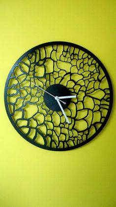 This listing is for Unique Wooden wall clock.  - Diameter 40cm ( 15.74 Inch) - Material: wood 3mm - AA battery, not included - painted with high-quality black paint.