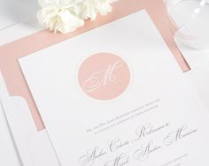 Blush Wedding Invitation  Circle Monogram by ShineInvitations