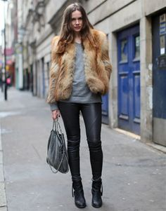 fur + leather #coat #outerwear #leatherpants #pants #skinnies #boots #booties #handbag #bags #outfit #effortless #casual #chic #winter #coldweather #fashion #cozy #simple #modern