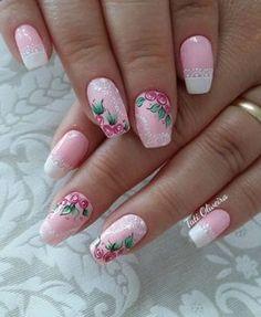 3d Nails, Cute Nails, Pretty Nails, Pink Nail Art, Pink Nails, Flower Nail Designs, Nail Art Designs, Paws And Claws, Flower Nails