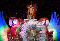 Samba dancers perform in the 'Cidade Maravilhosa' segment during the Closing…