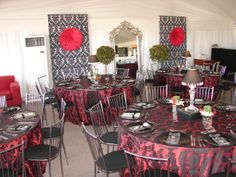 Red/Black Damask Red Color Schemes, Damask, Red Black, Table Settings, Table Decorations, Furniture, Home Decor, Decoration Home, Damascus