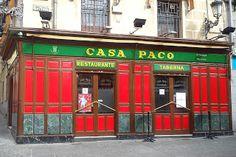 Casa Paco. Plaza de Puerta Cerrada, 11 - Madrid Sketches Of Spain, Bar, Foto Madrid, Plaza, Folklore, Bella, Outdoor Decor, Travel, Home