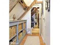 Combles cloisons aménagement - bois au naturel combiné avec des patines - entrée, couloir, bibliothèque...