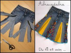 You'll love to make this Upcycled Denim Jeans Skirt and you can make it in a variety of styles and fabrics. Check out the Upside Down Upcycled Denim Jeans Dress too! Diy Clothing, Sewing Clothes, Sewing Jeans, Skirt Sewing, Clothes Refashion, Jeans Refashion, Recycled Clothing, Diy Fashion, Ideias Fashion