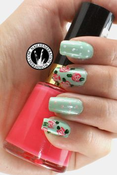 nail art | Vintage Rose Print Nail Art (My SGD791 Nail Art)