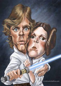 Caricaturas de los actores Mark Hamill y Carrie Fisher, Luke Skywalker y la Princesa Leia en la sag...