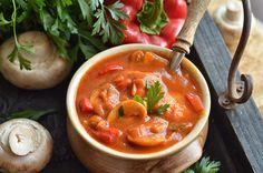 kurczak z pieczarkami i papryką Mozzarella, Thai Red Curry, Food And Drink, Menu, Dinner, Cooking, Ethnic Recipes, Blog, Menu Board Design