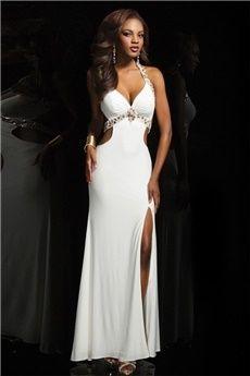 Sheath/Column V-neck Straps Floor-length Jersey Prom Dress