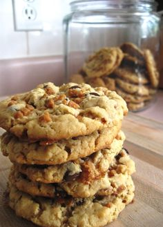 Skor, peanut butter, and chocolate chip cookies