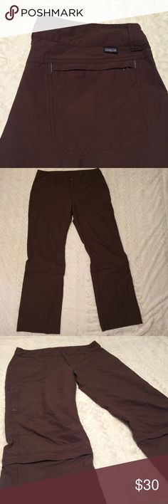 "Patagonia Brown Zip Off Pants Lightweight zip off pants 39"" long 30"" inseam length length of shorts 25.5"" straight leg 95% nylon 5% spandex Patagonia Pants"