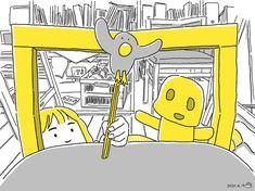 #こどもとうちで過ごそう 02 紙と割りばしで人形をつくって、椅子の上で人形劇してみる。 Pikachu, Fictional Characters, Fantasy Characters