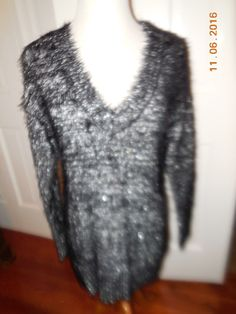 NWT Rock & Republic Sweater Medium Black Silver Metallic Fuzzy V Neck $60 | eBay