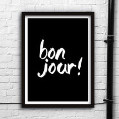 Bonjour http://www.amazon.com/dp/B016J0WQ88  motivationmonday print inspirational black white poster motivational quote inspiring gratitude word art bedroom beauty happiness success motivate inspire