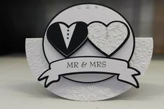 Handmade wedding card (could also be used as invites or simplified for place cards) - double heart, Bride and Groom design rocker card - Mr and Mrs section can be personalised with couples names.