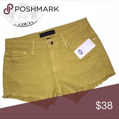 HOST PICK 6/22 24/00 juicy couture nwt shorts Brand: Juicy Couture  Size: 24-00! Style: mid rise cut off shorts  ^Fit: I think they could fit bigger  Condition: new with tag  *Additional Details: yellow mustard like color. Cute looking shorts. Juicy Couture Shorts Jean Shorts