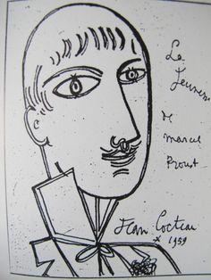 """de-bric-et-de-broc: """" La jeunesse de Marcel Proust - dessin de Jean Cocteau (1959) ¤ """""""