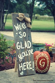 Standing Fall Porch Sign Welcome Sign Home Were so Glad Your Here Yard Sign Name Farm Sign Yard Sign Reclaimed Wood Sign Wooden Garden by TRUECONNECTION on Etsy
