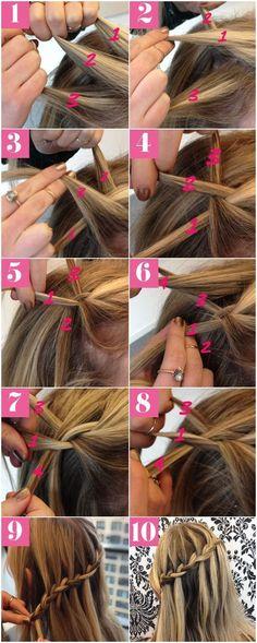 Hair How-To: 10 Steps To A Pretty Waterfall Braid #HairBraidingTutorial #EasyBraidTutorials click for info.