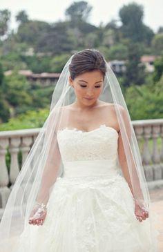 romantic, strapless, sweet-heart, white lace wedding dress