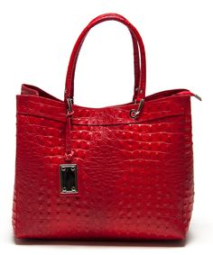 Rosso Textured Leather Tote