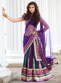 Multicolored Net Embroidered Lehenga Choli