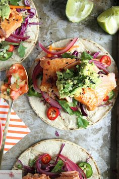 Asian Salmon Tacos by Heather Christo—SARAH SAYS: follow her link to the asian slaw which is what makes this meal, we fried cod for the fish, cheaper and very tasty