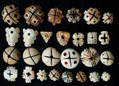 Antique shell hair ornament beads, Mauritania, North Africa.