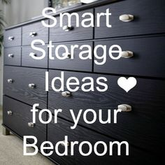 bedroom storage: there are some great ideas here.  I love the headboard side storage, under the bed storage and the labeled storage ideas. <3