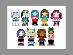 THIS IS FOR A PDF PATTERN ONLY.    Monster High Pixel People Pattern  Pattern measures 7 x 5 on 14 count cloth.    Characters include: Abbey