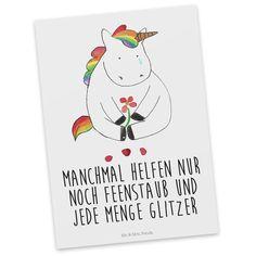 Postkarte Einhorn Traurig aus Karton 300 Gramm  weiß - Das Original von Mr. & Mrs. Panda.  Diese wunderschöne Postkarte aus edlem und hochwertigem 300 Gramm Papier wurde matt glänzend bedruckt und wirkt dadurch sehr edel. Natürlich ist sie auch als Geschenkkarte oder Einladungskarte problemlos zu verwenden. Jede unserer Postkarten wird von uns per hand entworfen, gefertigt, verpackt und verschickt.    Über unser Motiv Einhorn Traurig  Ein wunderschönes Einhorn aus der Mr. & Mrs. Panda…