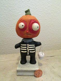 Halloween PUMPKIN MANwith GLOWING eyes AND bones folk art by Janell Berryman Pumpkinseeds by JanellBerryman on Etsy