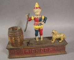 antique toy banks | Cast Iron mecanical toy bank Trick Dog