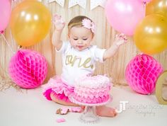 "First Birthday Shirt - This gold glittery shirt is perfect for your little girl""Ŗs birthday or all year round! She will be sparkling in style with this glitter gold ""ONE"" bodysuit. We at Bump and Beyo"