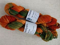 Hand dyed DK weight yarn in autumn orange and green colours, wool soft and twisty Green Colors, Colours, Dk Weight Yarn, Throw Pillows, Autumn, Orange, Unique Jewelry, Handmade Gifts, How To Make