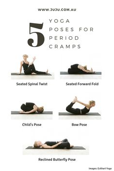 Try these 5 poses to ease cramps and tension during your period. yoga Yoga for Period Cramps Period Cramp Relief, Period Cramps, Menstrual Yoga, Menstrual Cycle, Period Workout, Workout During Period, Fitness Tracker, Fitness Motivation, Yoga Positions