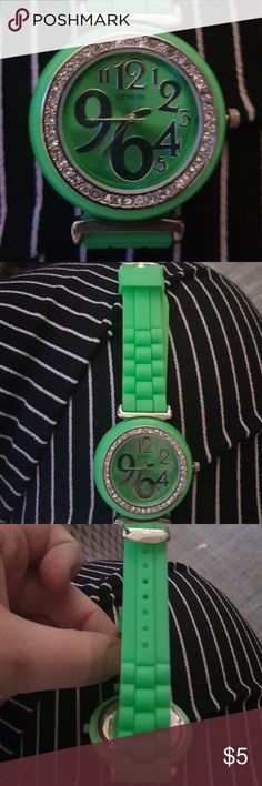 Green Watch Needs Battery. Green watch with funky Number style surrounded in gems. Green jelly band Geneva Accessories Watches