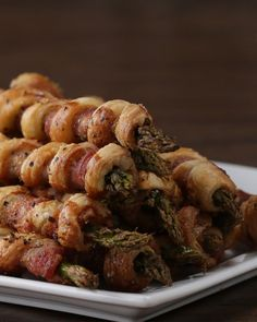 Bacon Asparagus Pastry Twist. Cut strips of bacon in half, wrap Around asparagus. Wrap puff pastry strip in between bacon. Egg wash, salt/pepper. Bake 18 minutes at 400.