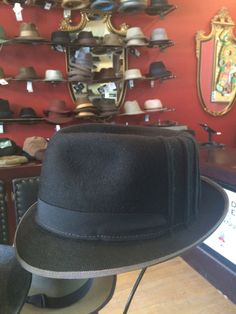 2655b5a7 A black fur felt Rooster Ribbed Fedora, black grosgrain w grey stitch and a  matched grey bound edge. John McLaughlin · Brass Rooster Hats